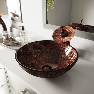 VIGO Kenyan Twilight Glass Vessel Sink and Waterfall Faucet Set in Oil Rubbed Bronze