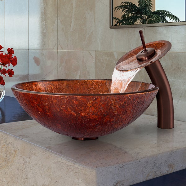 VIGO Mahogany Moon Glass Vessel Sink and Waterfall Faucet Set in Oil Rubbed Bronze