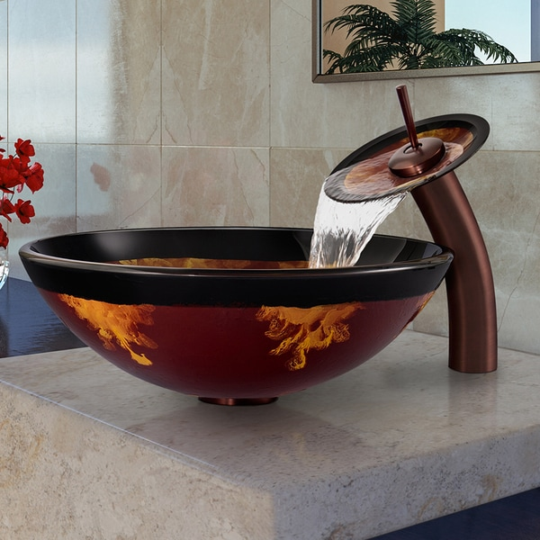 VIGO Auburn/Mocha Fusion Glass Vessel Sink and Waterfall Faucet Set