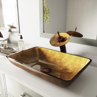 VIGO Rectangular Copper Glass Vessel Sink and Waterfall Faucet Set in Oil Rubbed Bronze