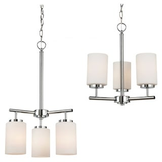 Sea Gull Lighting 3-light Chrome Finish Chandelier with Etched Opal White Glass