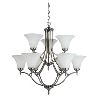 Sea Gull Lighting 9-light Antique Brushed Nickel Chandelier with Satin Etched Glass