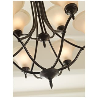 Sea Gull Lighting 9-light Burnt Sienna Finish Chandelier with Satin Cafe Tint Glass
