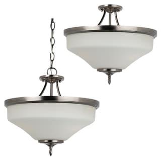 3-light Convertible Antique Brushed Nickel Semi-flush Pendant Light