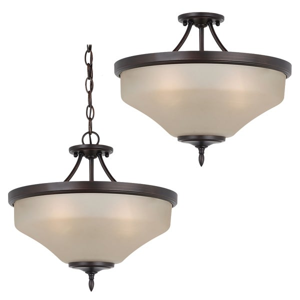 Sea Gull Lighting 3-light Burnt Sienna/ Cafe Tint Glass Semi-Flush Pendant Light