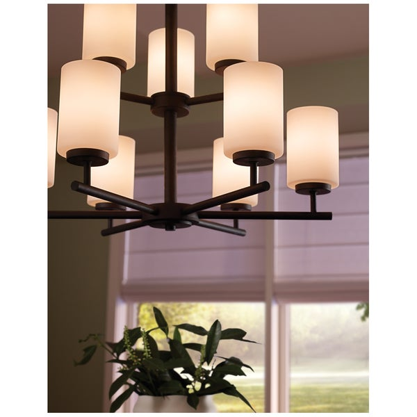 Sea Gull Lighting 9-light Blacksmith Finish Chandelier with Satin Etched Glass