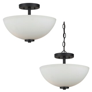 Sea Gull Lighting 2-light Convertible Blacksmith Finish Semi-flush