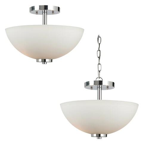 Sea Gull Lighting 2-light Chrome Finish Convertible Semi-flush