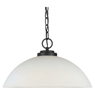 Sea Gull Lighting 1-light Blacksmith Finish Pendant with Satin Etched Glass