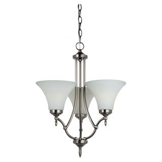 Sea Gull Lighting 3-light Antique Brushed Nickel Chandelier with Satin Etched Glass