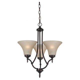 Sea Gull Lighting 3-light Burnt Sienna Finish Chandelier with Satin Cafe Tint Glass