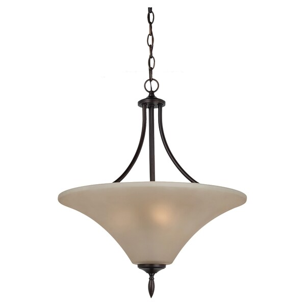 Sea Gull Lighting Burnt Sienna Three-light Uplight Pendant with Satin Cafe Tint Glass