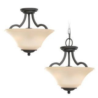 Somerton Blacksmith Two-light Semi-flush Convertible Fixture
