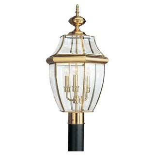 Sea Gull Lighting Lancaster 3-light Polished Brass Outdoor Post Lantern