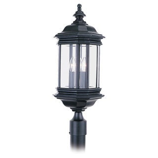 Sea Gull Lighting Hill Gate 3-light Black Outdoor Post Lantern