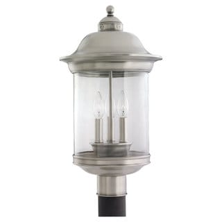Sea Gull Lighting Hermitage 3-light Antique Brushed Nickel Outdoor Post Lantern
