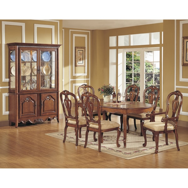 Vendome 7 Piece Chestnut Veneer Dining Set With China Cabinet