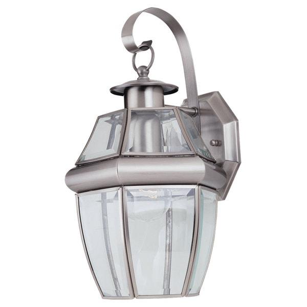 Sea Gull Lighting Lancaster 1-light Brushed Nickel Outdoor Wall Lantern