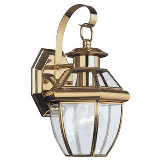 Sea Gull Lighting Lancaster 1-light Brass Outdoor Wall Lantern