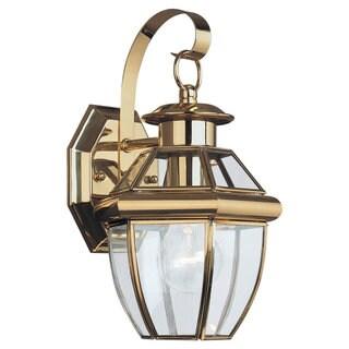 Sea Gull Lighting Lancaster 1-light Brass Outdoor Wall Lantern