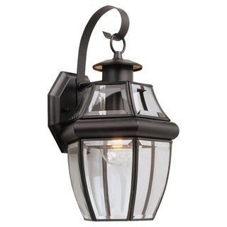 Sea Gull Lighting Lancaster 1-light Black Outdoor Wall Lantern with Curved Glass