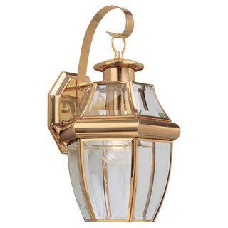 Sea Gull Lighting Lancaster Brass 1 Light Outdoor Wall Lantern