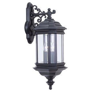 Sea Gull Lighting Hill Gate Black 3-light Outdoor Wall Lantern