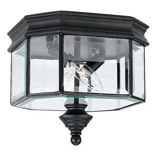 Sea Gull Lighting Hill Gate Black 2-light Outdoor Ceiling Fixture