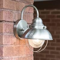 Sea Gull Lighting Sebring Brushed-Stainless-Steel Outdoor Wall Lantern