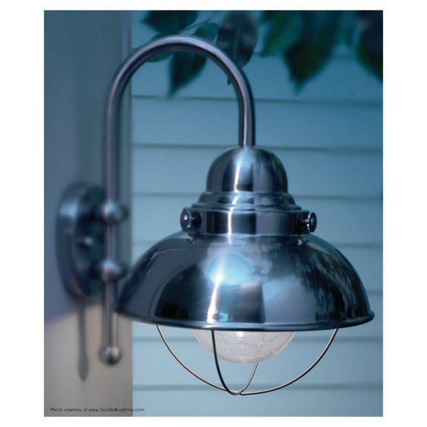 Sea Gull Lighting Sebring Brushed Steel Outdoor Wall Lantern Free Shipping Today 7861856