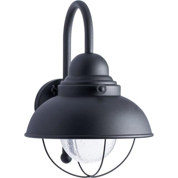 Shop Sea Gull Lighting Sebring Black Outdoor Wall Lantern Free Shipping Today