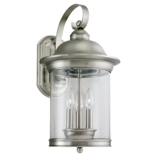 Sea Gull Lighting Hermitage 3-light Antique Brushed Nickel Outdoor Wall Lantern