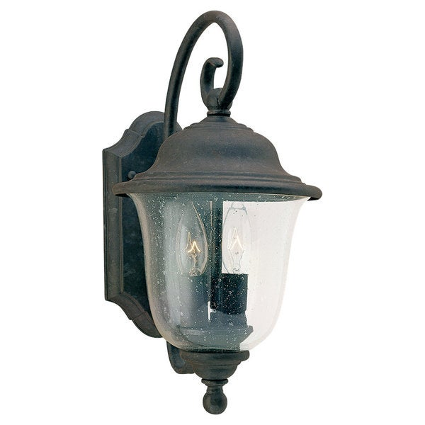 Sea Gull Lighting Trafalgar Oxidized-Bronze Two-Light Outdoor Lantern with Glass Shade