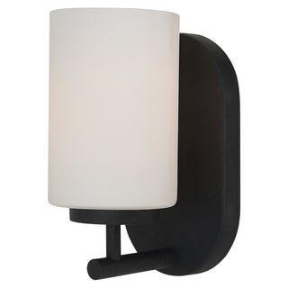 Oslo 1-Light Blacksmith with Satin Etched Glass Bathroom Wall Sconce