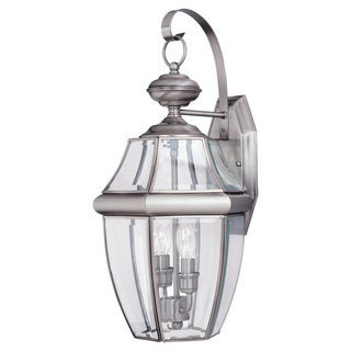 Lancaster Brushed Nickel Outdoor 2-Light Wall Lantern