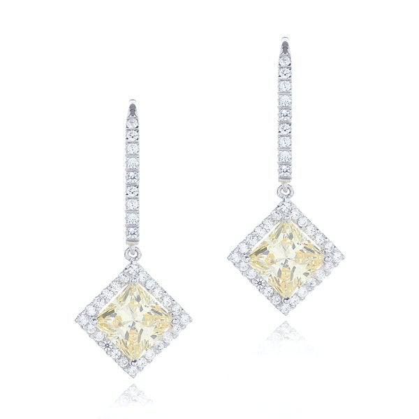 Canary Yellow Princess Cut Diamond Alternatives 4mm Stud Earrings Solid 14k Gold