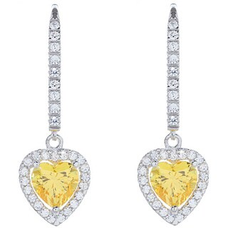 Blue Box Jewels Sterling Silver Canary Heart Cut Cubic Zirconia Dangle Earrings