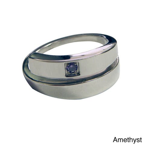 Magnetic Therapy Specialists Stainless Steel Crystal Ring