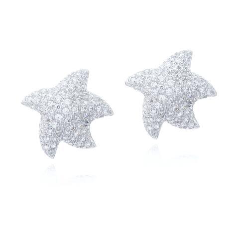 Blue Box Jewels Rhodiumplated Silver Round-cut CZ Starfish Stud Earrings