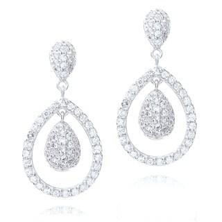 Blue Box Jewels Sterling Silver Cubic Zirconia Double Teardrop Earrings