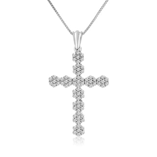 10k White Gold 1/3ct TDW Diamond Cross Necklace