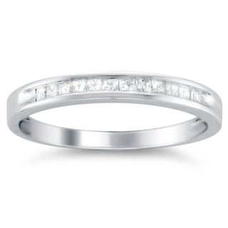 Montebello 14k White Gold 1/4ct TDW Princess-cut Diamond Wedding Band