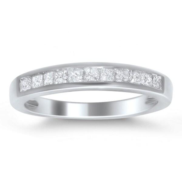 Montebello 14k White Gold 1/2ct TDW Princess-cut Diamond Wedding Band