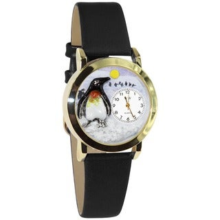 Penguin Stainless Steel Black Leather Watch