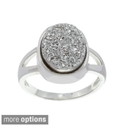 La Preciosa Sterling Silver Created Grey Druzy Ring