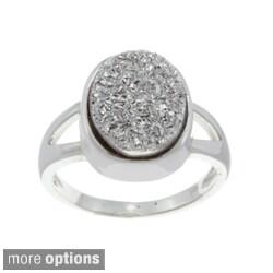 La Preciosa Sterling Silver Created Grey Druzy Ring