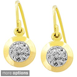 Fremada Sterling Silver Crystal Round Hook Earrings