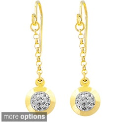 Fremada Sterling Silver Crystal Round Drop Earrings