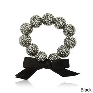 Riccova Black-plated Black Crystal and Ribbon Bow Stretch Bracelet