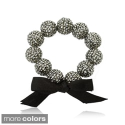 Riccova Black-plated Black Crystal and Ribbon Bow Stretch Bracelet
